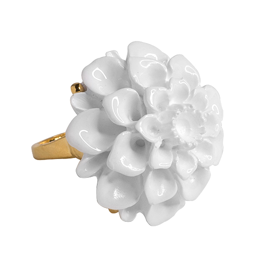 Gold And White Flower Ring Kennethjaylane