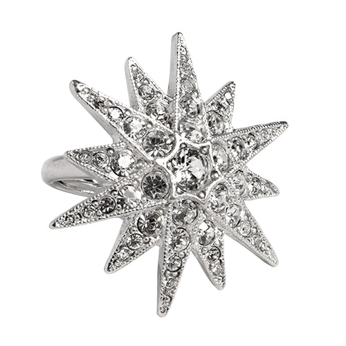 Silver & Crystal Flared Star Ring