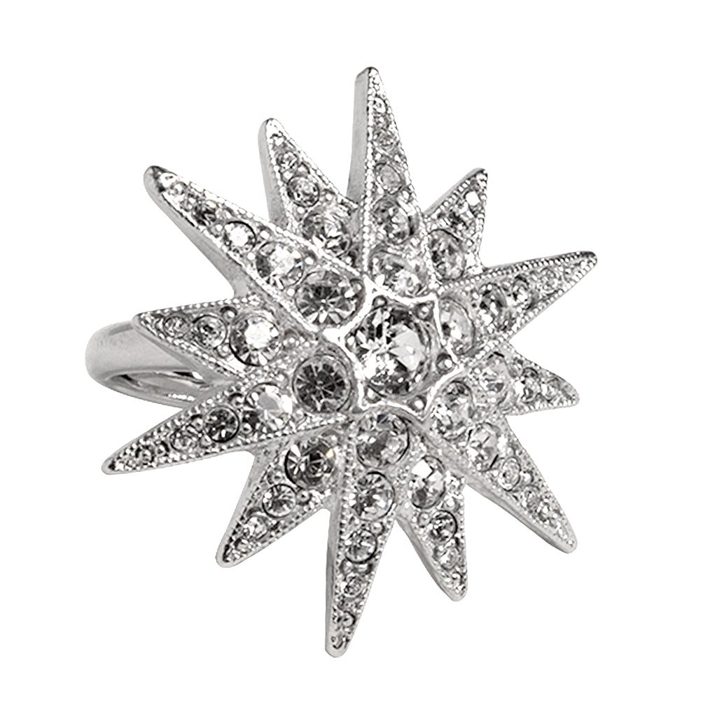 InStyle/June 2017 - Silver & Crystal Flared Star Ring