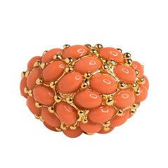 Gold Light Coral Cab Ring