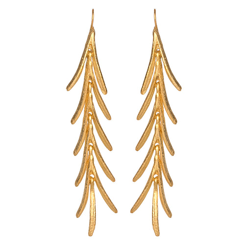 Satin Gold Leaves Drop Fishhook Pierced Earrings