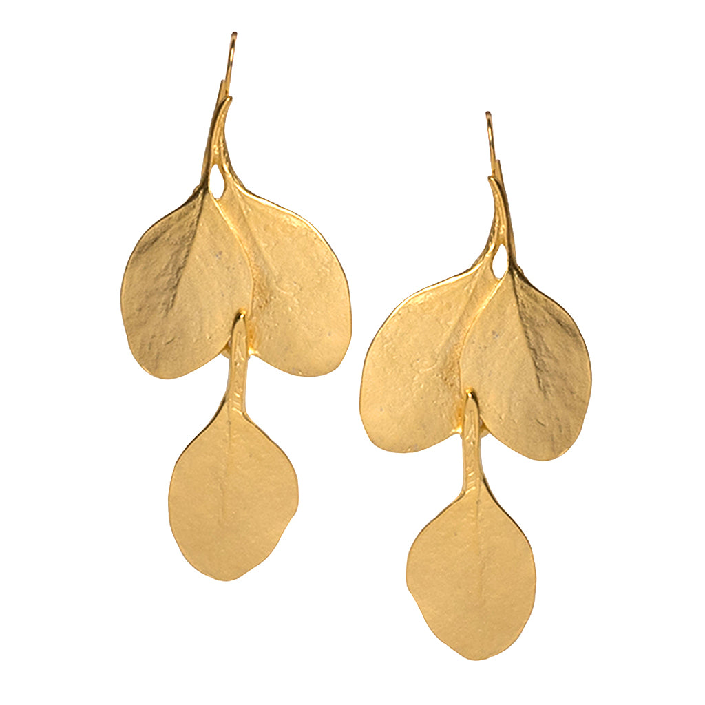 Satin Gold Long Leaf Pierced Earrings