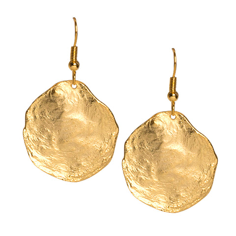 Large Polished Gold Ends Hoop Pierced Earring