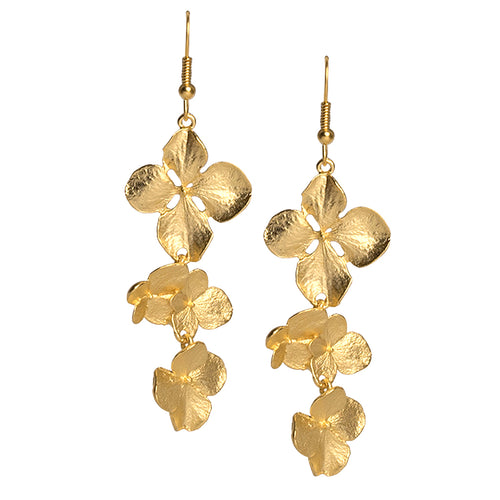 Satin Gold Flowers Drop Fishhook Earring