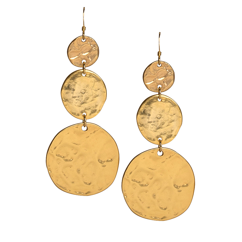 Satin Gold 3 Coin Drop Fishhook Pierced Earrings
