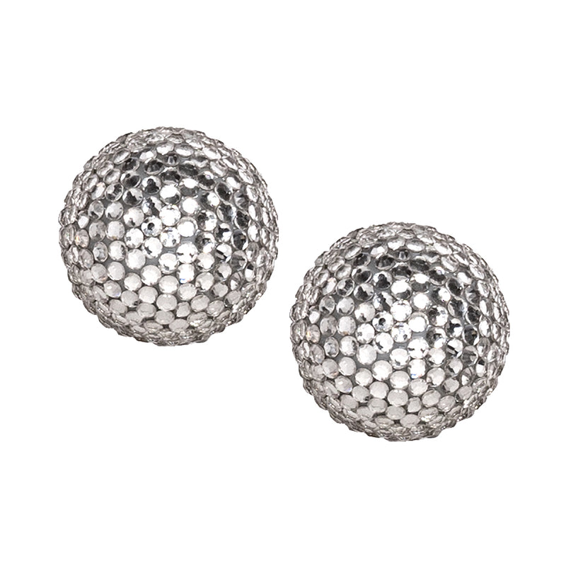Pave Ball Pierced or Clip Earrings