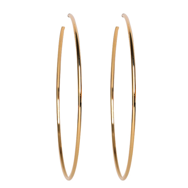 "Large 3.5"" Gold Hoop Pierced Earrings"