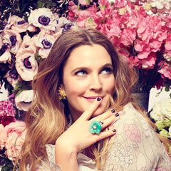 Drew Barrymore in the Silver & Jade Flower Ring