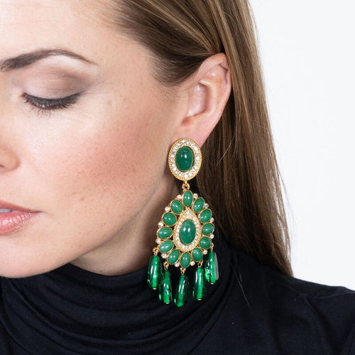 Gold & Emerald Drop Clip Earrings