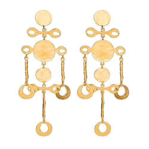Satin Gold Fancy Coin Drop Clip Earrings