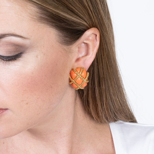 Gold Trim Coral Quilted Clip Earrings