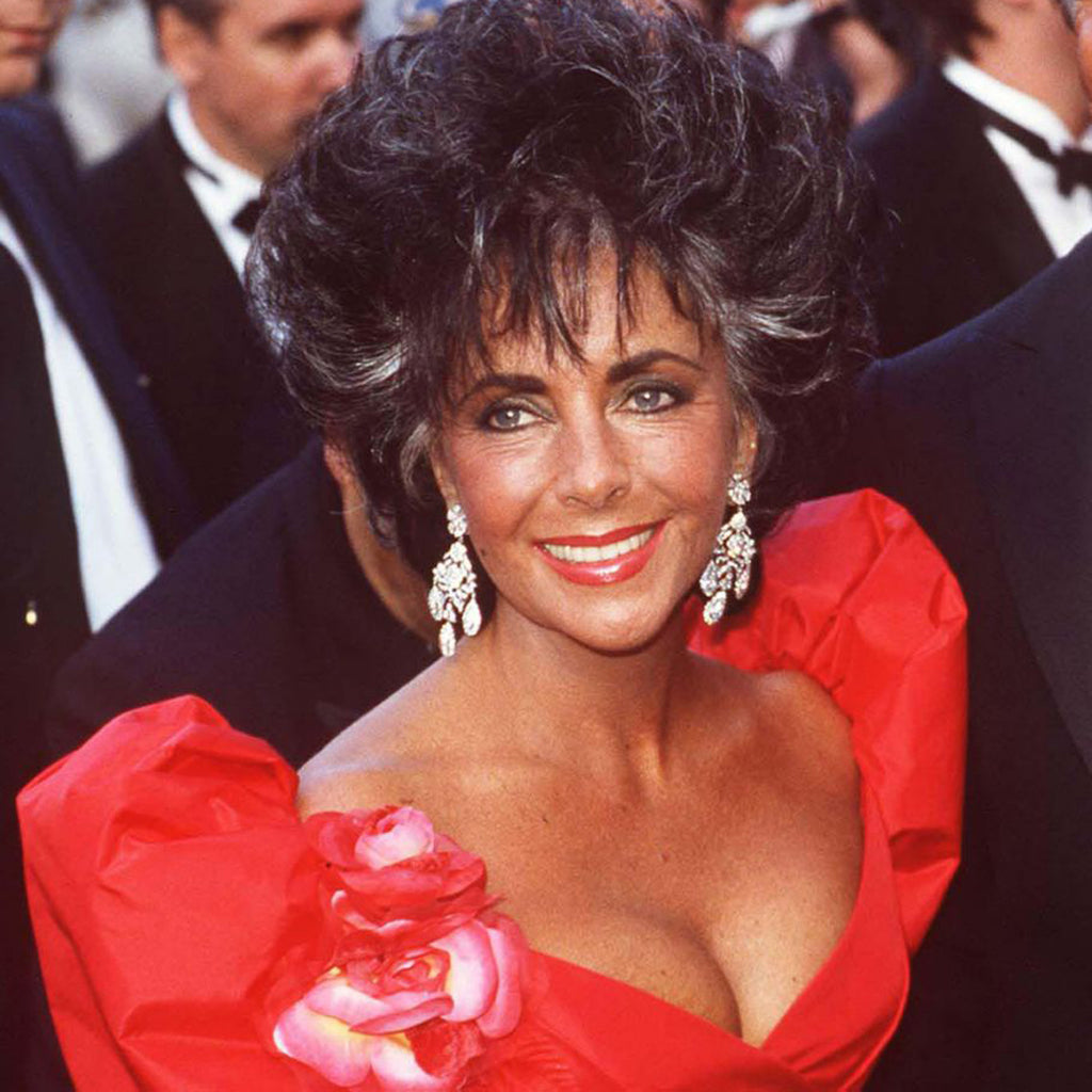 Elizabeth Taylor in the Antique Silver and Crystal Drop Clip Earrings