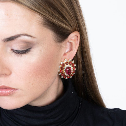 Flawed Ruby Center Clip Earrings