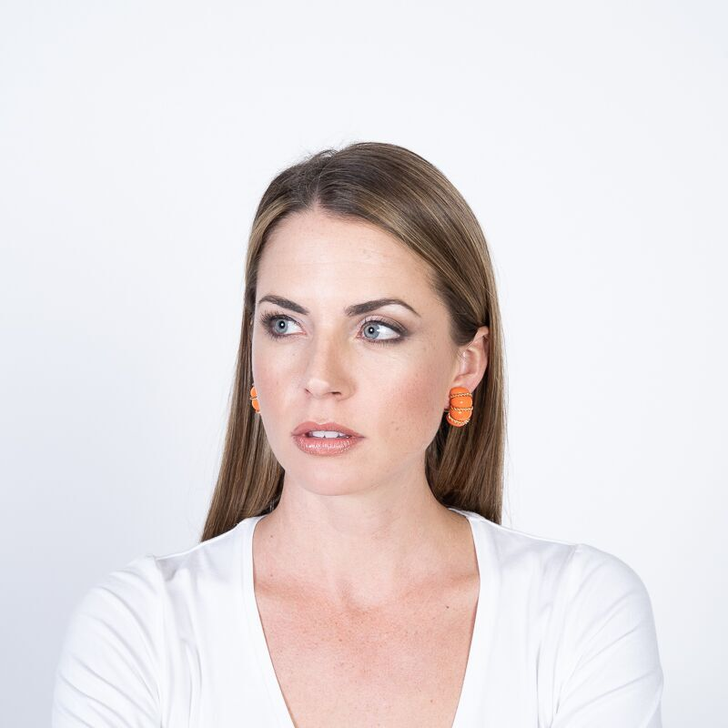 Coral Resin Gold Wire Wrapped Clip Earrings