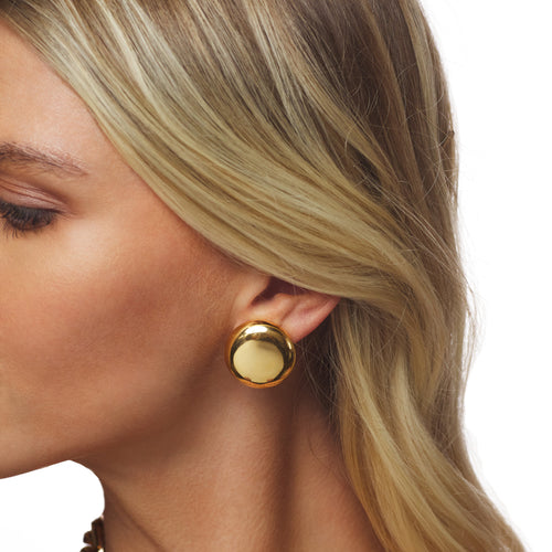 Gold Button Earring