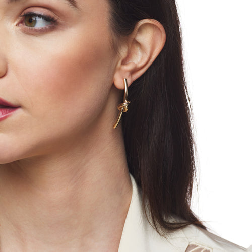 Gold Knot Drop Earring