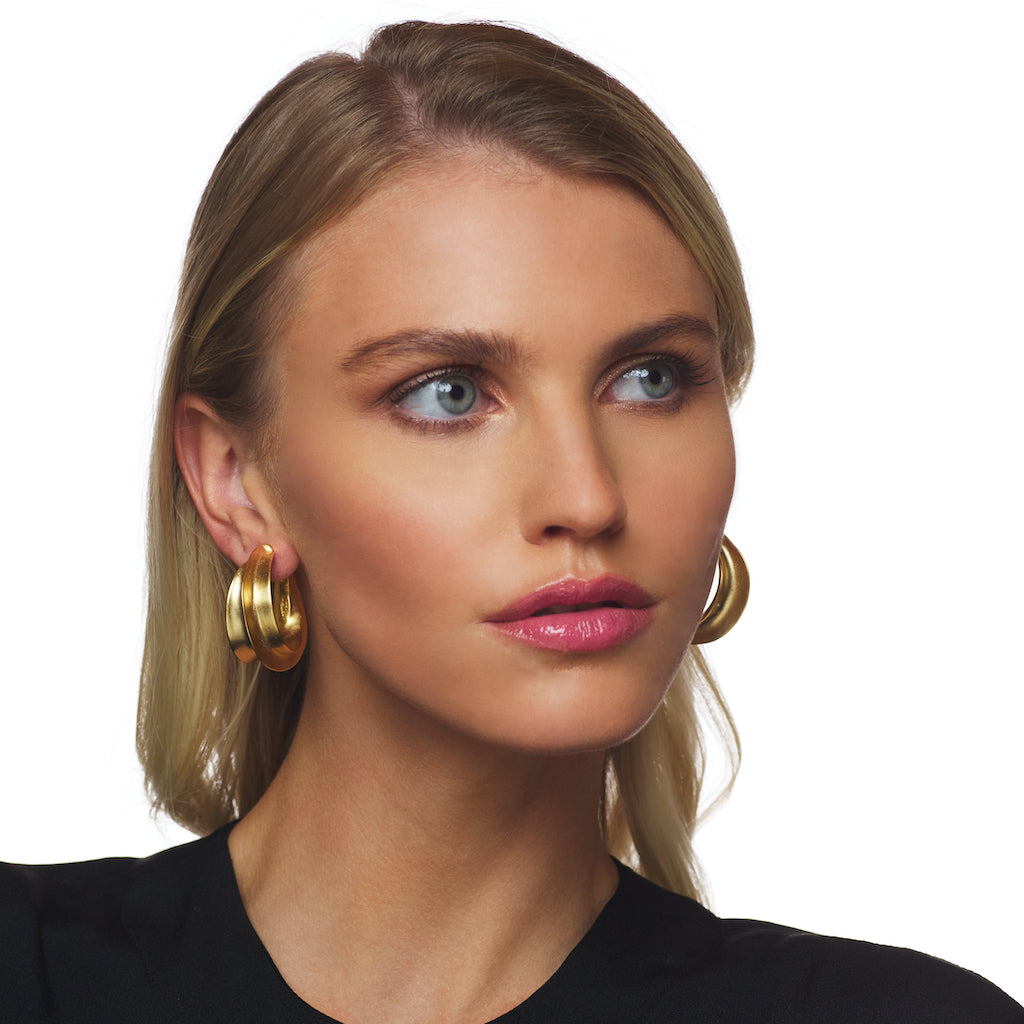 Satin Gold Sculpted Hoop Pierced Earring
