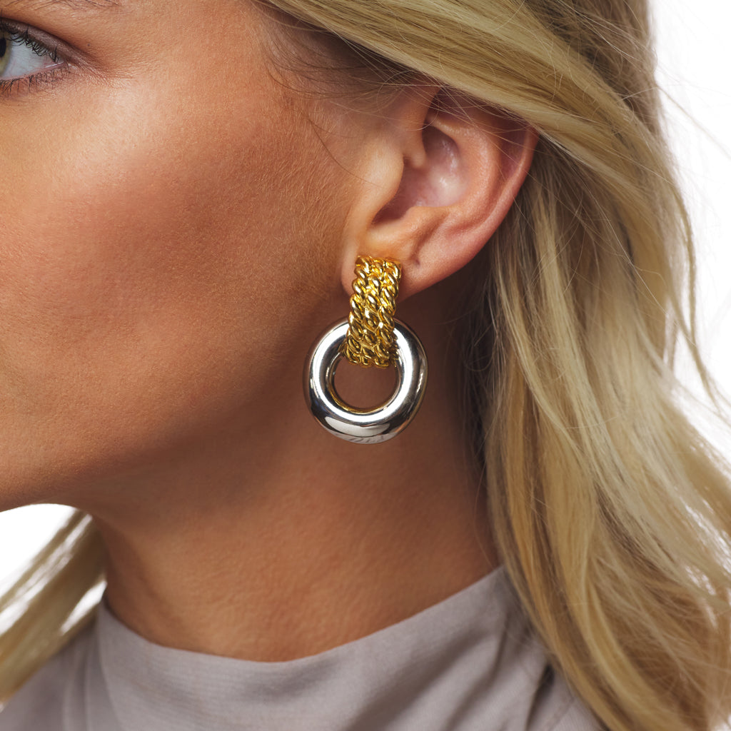 Gold Top/Polished Silver Bottom Doorknocker Clip Earring