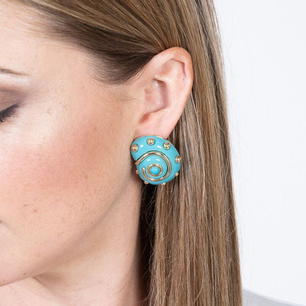 Turquoise with Gold Dots Shell Clip Earrings