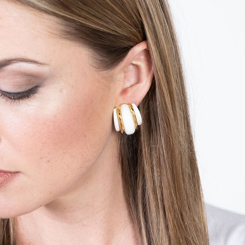 Gold Double Ribbed White Domed Hoop Clip Earrings