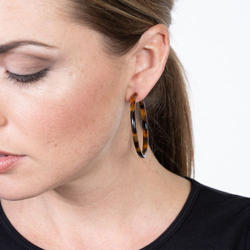 Small Tortoise Hoop Pierced Earrings