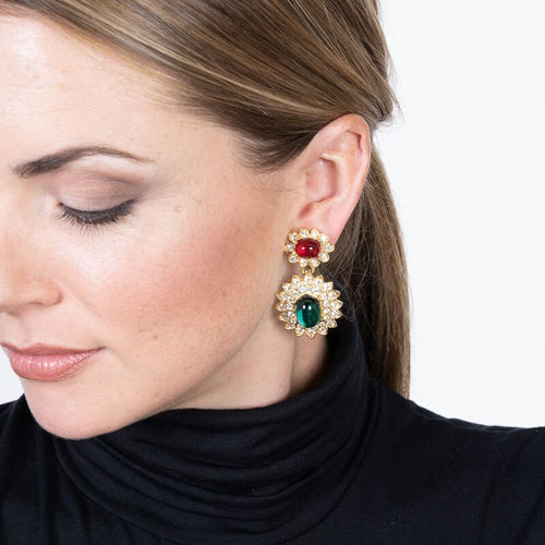 Ruby & Emerald Cabochon Drop Earrings