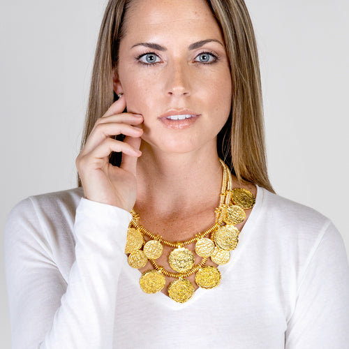 Gold Carved Coin Necklace