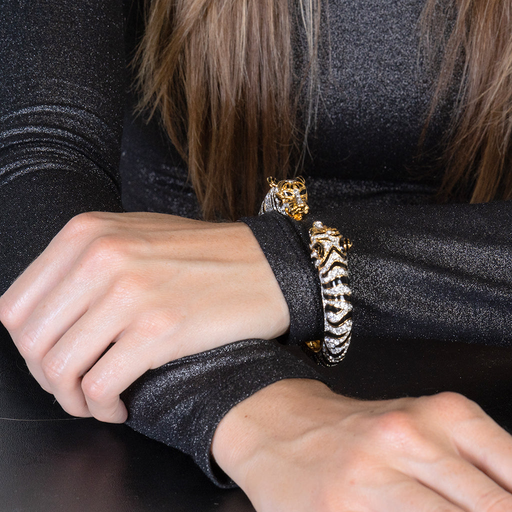 Black & Crystal Tiger Bracelet