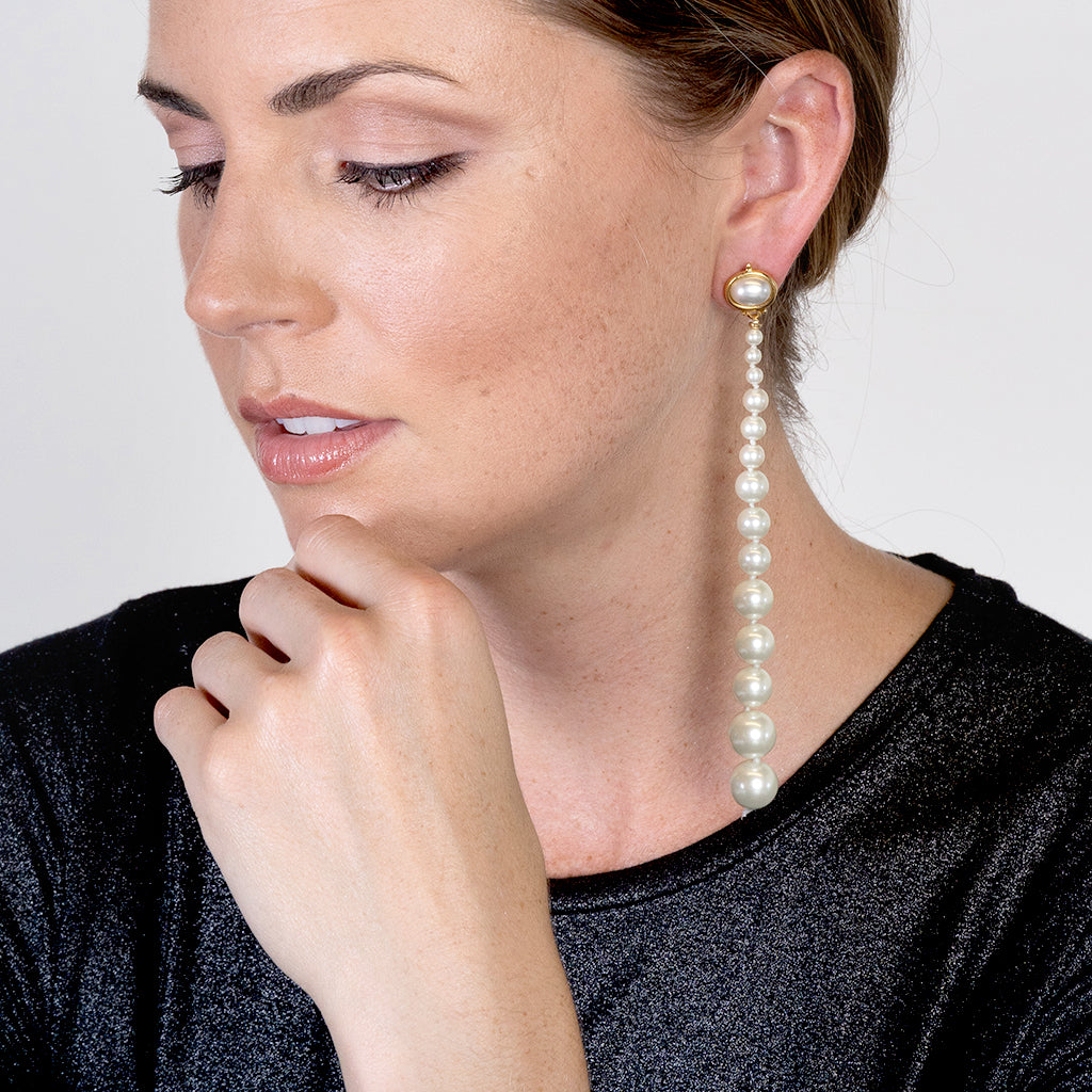 "5"" Long Drop Pearl Pierced Earrings"