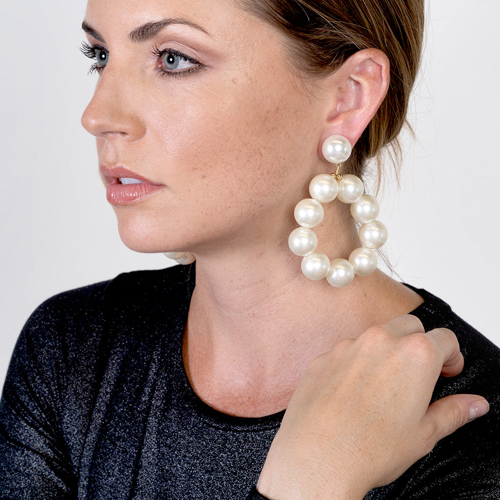 Gold And White Ball Hoop Pierced Earrings