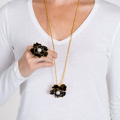 Black Flower Pendant