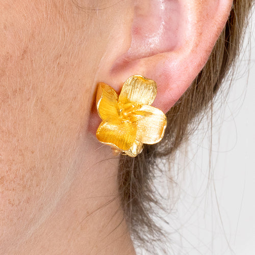 Gold Flower Clip Earrings