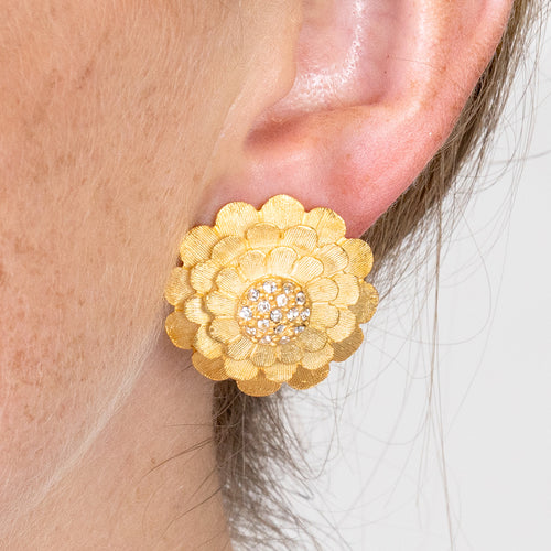 Flower Cluster Button Clip Earrings