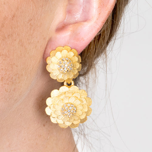 Gold & Crystal Flower Cluster Earrings