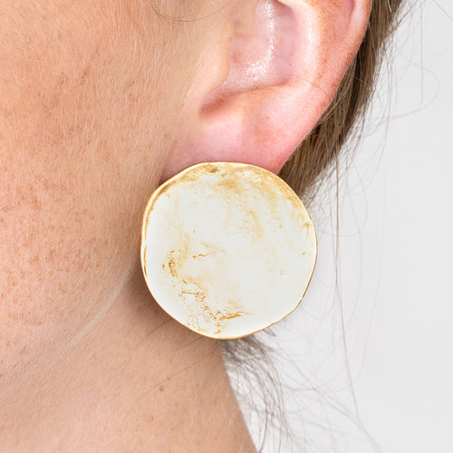 Coin Button Clip Earrings