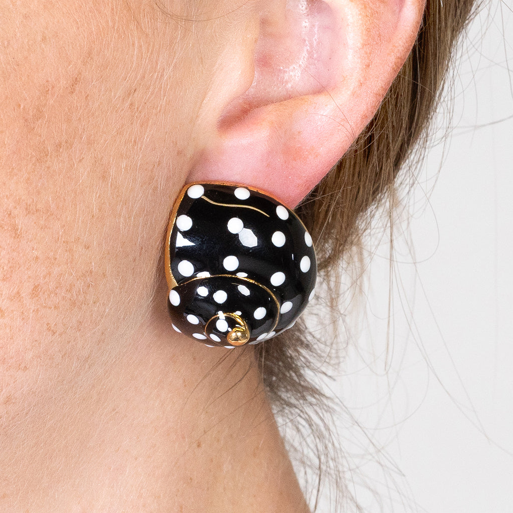 Snail Clip Earrings - White Dots