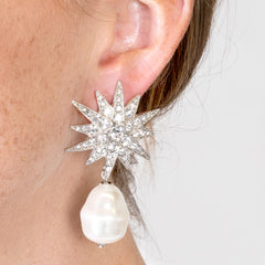 Starburst And Baroque Pearl Pierced Earrings