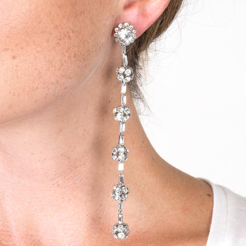 Crystal Fireball Clip Earrings