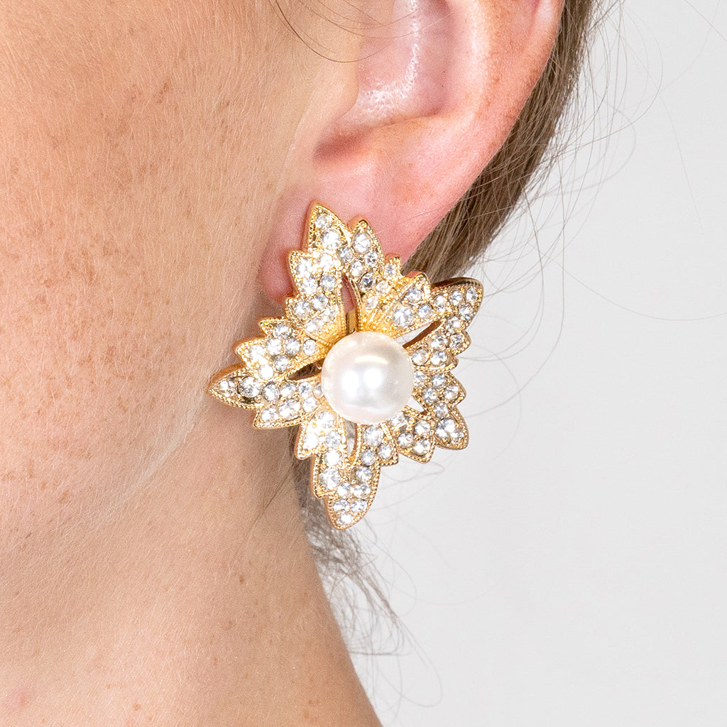 Flower Pearl Clip Earrings