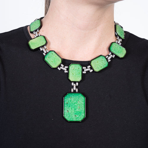 Jade and Black Art Deco Necklace
