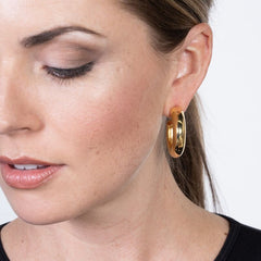 Gold Tube Hoop Pierced Earrings
