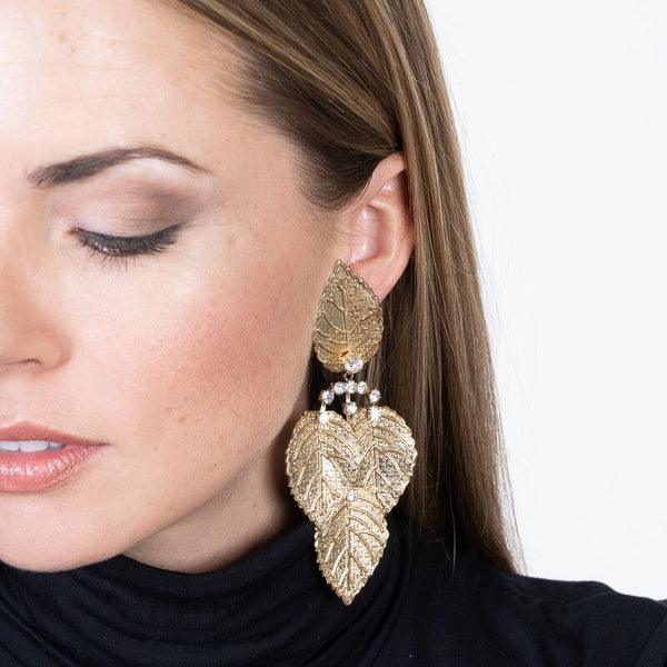 Crystal Leaf Drop Clip Earrings