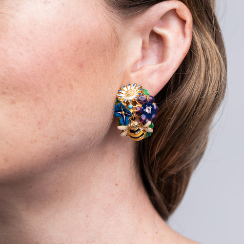 Gold Multi Colored Flower Bug Clip Earrings