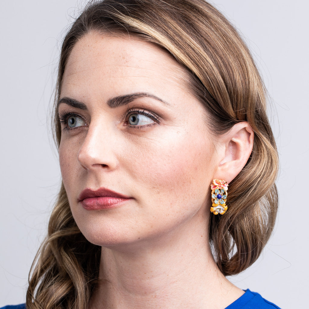 Gold and Pastel Flower Hoop Clip Earrings