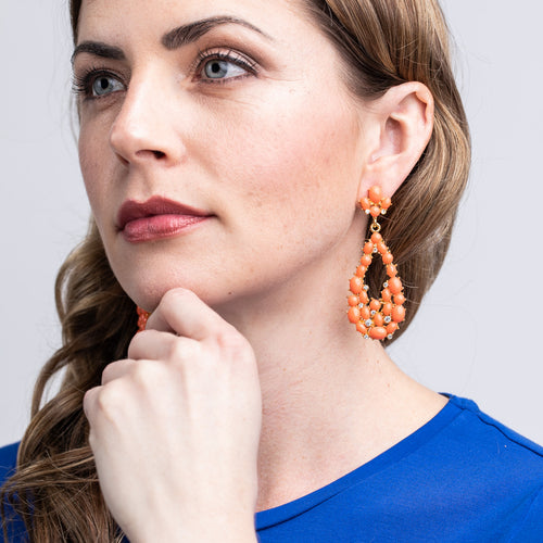 Coral Cabochon Teardrop Pierced Earrings