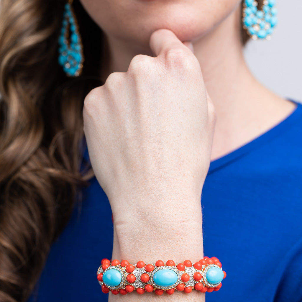 Turquoise And Coral Cabochon Bracelet