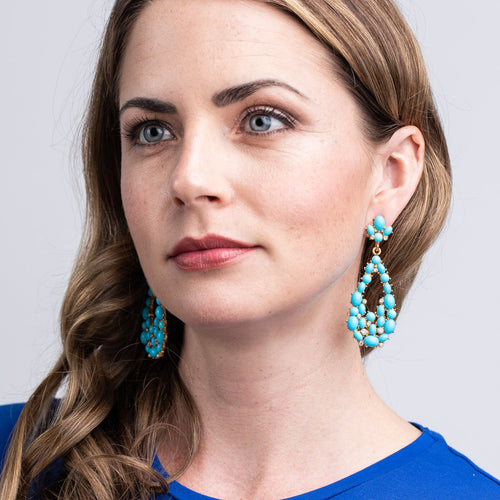 Turquoise Cabochon Teardrop Pierced Earrings