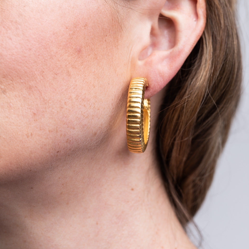 Satin Gold Ribbed Hoop Clip Earrings