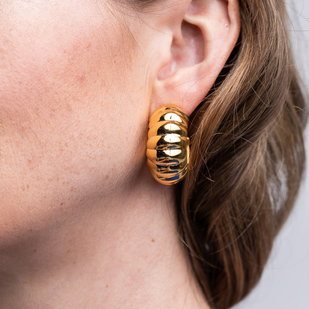 Polished Gold Shrimp Hoop Clip Earrings