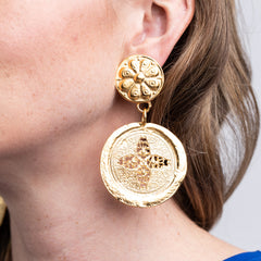 Satin Gold Coin Drop Clip Earrings